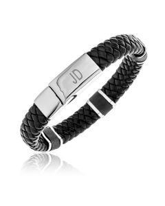 "Stainless Steel Gent's Personalised Two Initials Black Leather 8.25"" Bracelet"