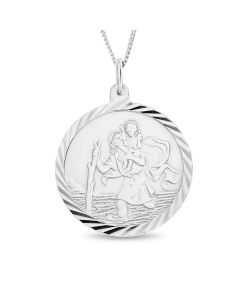 "Sterling Silver St. Christopher 22 mm Round Pendant On 18"" Curb Chain"