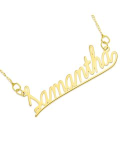 "9ct Yellow Gold Underlined Name Plate On 16"" Trace Chain"