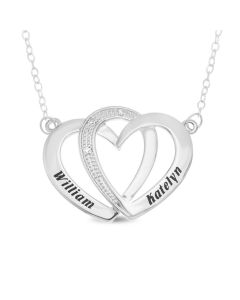 "Sterling Silver Personalised Diamond Set Two Linked Hearts Necklace on 18"" Trace Chain"