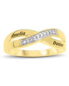9ct Yellow Gold Personalised Two Names Diamond Set Crossed Over Ring