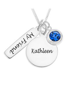 "Sterling Silver Personalised Disc, Tag and Birthstone Charm Pendants On 18"" Curb Chain"