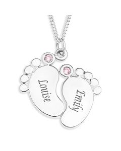 "Silver Personalised Two Baby Girls Feet With Pink CZ Pendant On 18"" Curb Chain"