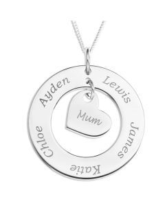 "Sterling Silver Personalised Circle and Heart Family Pendant On 18"" Curb Chain"