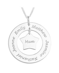"Sterling Silver Personalised Family Circle With A Mum's Star Charm Pendant On 18"" Curb Chain"