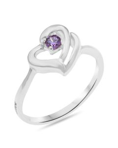 Sterling Silver Personalised Cubic Zirconia Month Stone Set Heart Ring