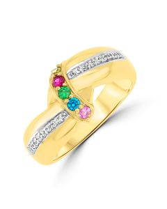 Yellow Gold  Plated Silver 5 Birth Stones Keepsake ring