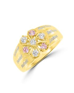Yellow Gold Plated Silver Personalised 6 Names CZ Set Flower Family Ring