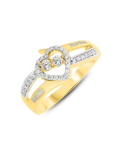 Yellow Gold Plated Silver Personalised Two Names CZ Set Ring