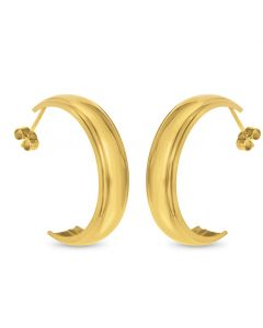 9ct Gold Plain Wedding Band 8MM Half Hoop Earrings