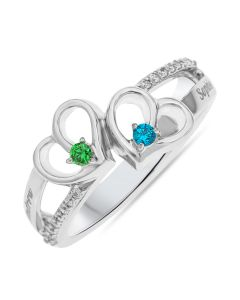 Rhodium Plated Silver Personalised Two Hearts And Two Birth Stones Ring