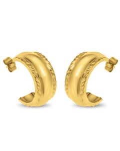 9ct Gold Plain With Rope Edge Wedding Band Half Hoop Earrings
