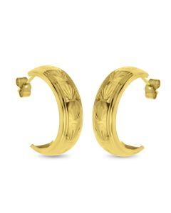 9ct Gold Leaf Pattern Diamond Cut Half Hoop Wedding Band Earrings