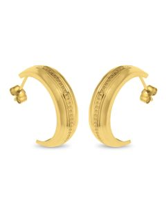 9ct Gold Lined Edge And Pips Half Hoop Wedding Band Earrings