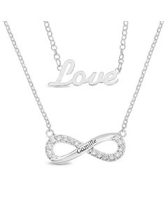 Sterling Silver Personalised White CZ Infinity and Love Two Chain Necklace