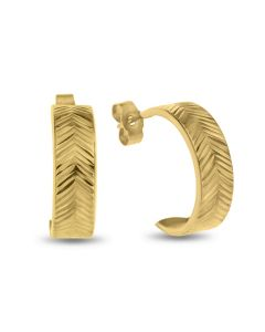 9ct Gold Dia Cut Chevron Pattern Half Hoop Wedding Band Earrings