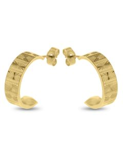 9ct Gold Flat Lines And Stars Pattern Half Hoop Wedding Band Earrings