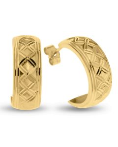 9ct Yellow Gold D Shape Dia Cut Pattern Half Hoop Wedding Band Earrings