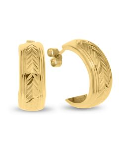 9ct Gold Lined And Chevron Dia Cut Half Hoop Wedding Band Earrings