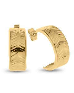 9ct Gold Flat Lined Edge And Chevron Pattern Half Hoop Wedding Band Earrings