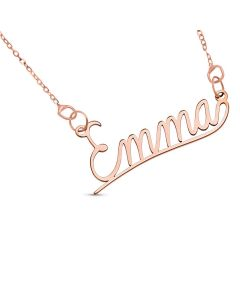 "9ct Rose Gold Personalised Underlined Name Plate Necklace On 16"" Trace Chain"