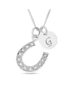 "Sterling Silver Side Hanging CZ Set Horseshoe Pendant With 1 Initial Disc On 18"" Curb Chain"