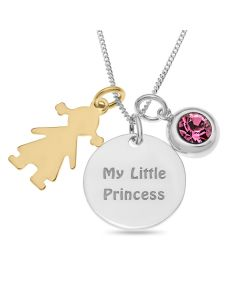 "Sterling Silver 'My Little Princess' Disc With Gold Plated Girl And Pink Stone Charms On 18"" Curb Chain"