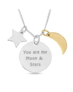 "Sterling Silver 'You Are My Moon & Stars' Disc With Star And Gold Plated Moon Charms On 18"" Curb Chain"