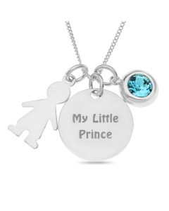 "Sterling Silver 'My Little Prince' Disc With Boy And Blue Stone Charms On 18"" Curb Chain"