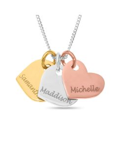 "Silver, Gold And Rose Gold Plated Silver Personalised 3 Hearts Pendants on 18"" Curb Chain"