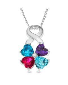 """Sterling Silver Four-Leaf Clover Cubic Zirconia Set Pendant On 18"""" Curb Chains"""