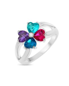 Sterling Silver Cubic Zirconia Four-Leaf Clover Set Ring
