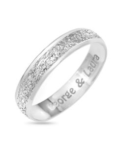 9CT White Gold Personalised Moon Dust Affect 4MM Wedding Ring