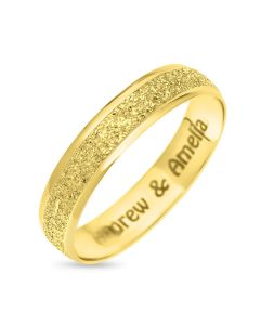 9CT Gold Personalised Moon Dust Affect 4MM Wedding Ring