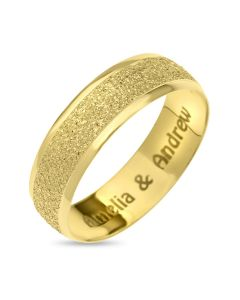 9CT Gold Personalised Moon Dust Affect 6MM Wedding Ring