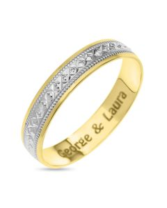 9ct Gold And Rhodium Plated Personalised  Diamond Cut Pattern 4MM Wedding  Band Ring