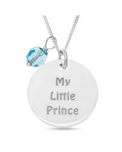 "Sterling Silver Personalised 'My Little Prince' Disc And Blue Stone Charm Pendant On 18"" Curb Chain"