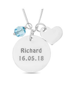 "Sterling Silver Personalised Disc Pendant With Blue Crystal And Plain Heart Charm On 18"" Curb Chain"
