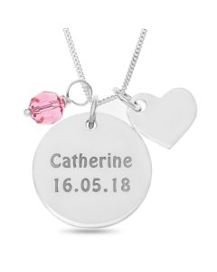 "Sterling Silver Personalised Disc Pendant With Heart And Pink Stone Charms On 18"" Curb Chain"