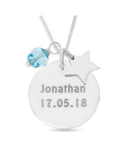 "Sterling Silver Personalised Dic Pendant With Star And Blue Stone Charms On 18"" Curb Chain"
