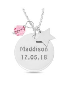 "Sterling Silver Personalised Disc With Pink Crystal And Star Charm On 18"" Curb Chain"