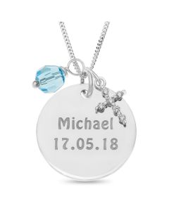 "Sterling Silver Personalised Disc Pendant With CZ Cross And Blue Stone Charms On 18"" Curb Chain"