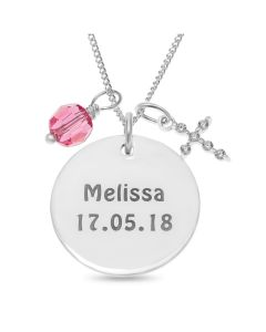 "Sterling Silver Personalised Baby Girl's Name And Date Of Birth Pink Crystal Charm Disc Pendant On 18"" Curb Chain"