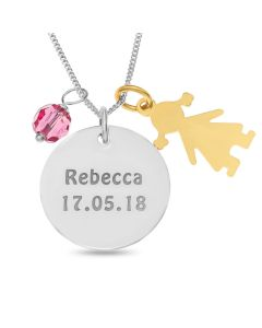 "Sterling Silver Personalised Disc With YGP Girl and Pink Crystal Charms on 18"" Curb Chain"