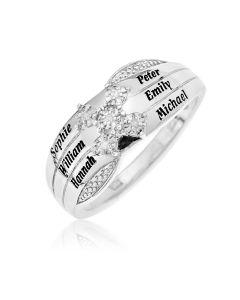 Sterling Silver Personalised 6 Names Precious Sent Dia Ring