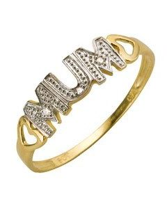 9ct Yellow Gold Diamond Set Mum Ring