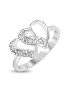 Sterling Silver CZ Set Double Heart Ring