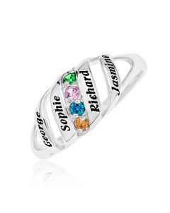 Silver Personalised Four Names And Four CZ Birthstones Set Family Ring