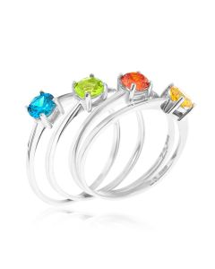 Silver Set of 4 CZ Solitaire Rings