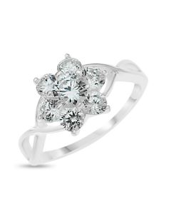 Sterling Silver  CZ set Flower Ring